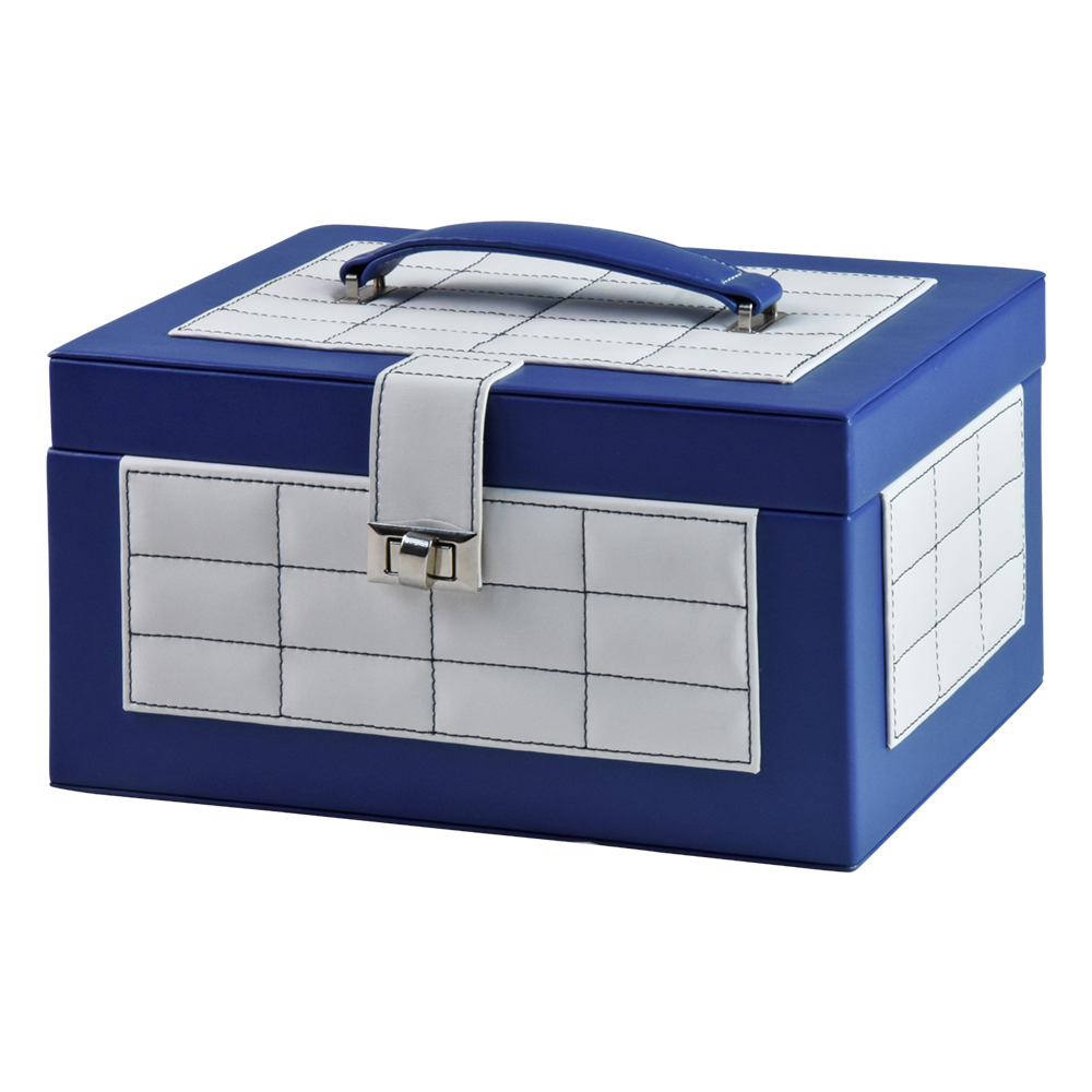 Blue With Lock Big Travel Customized Velvet Jewelry Display Box