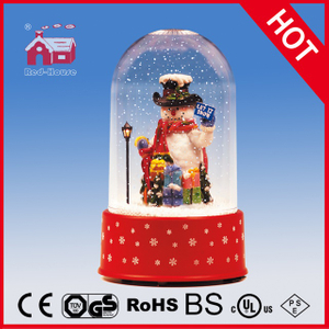 (P18030G) 2016 Hot Sell Snowing Christmas Decoration with Transparent Case Holiday Glass Crafts