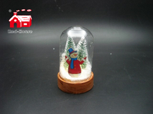 Christmas Glass Decoration in Mini Dome Shape with Scene inside Led Power by Button Batteries