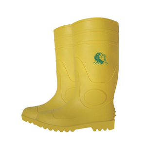 YYS yellow steel toe cap PVC safety wellington rain boots