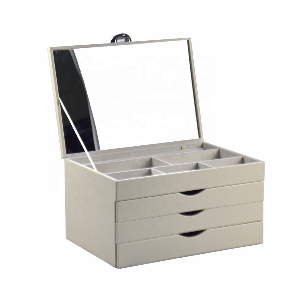 Custom Made PU Leather Jewelry Packaging Box with 3 Drawers And Mirror