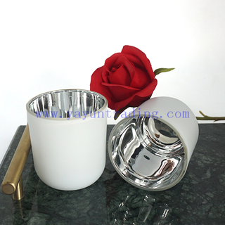 Inner Mercury Silver Jar Christmas Heat Resistant Matte Luxury Glass Candle Jar With Lid