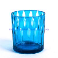 creative hand engraved blue glass candlestick for party