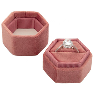 Personalized Custom Wedding Ring Box Hexagon Velvet Ring Box
