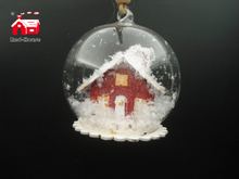 Christmas Decorative Hanging Led Lights Snow Globe with Building And Snow Flake Scene