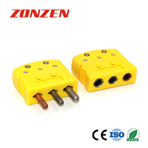 Standard Size 3 Prong Round Pin Connector for Thermocouple, RTD and 3-Wire Thermistor