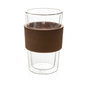 GD0102 Double Wall Heat Insulation Glass Mug with Wooden Sleeve
