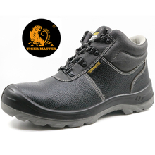 Black leather steel toe cap anti static safety jogger style safety shoes