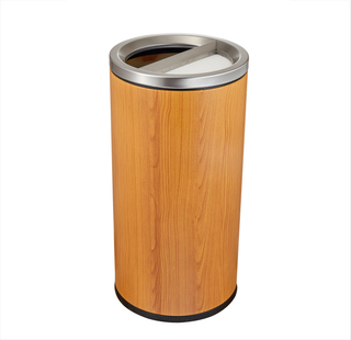 Rounded Stainless Steel Waste bin with half opening