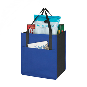 Portable Non-Woven Shoppers Outside Pocket Custom Market Tote Bags