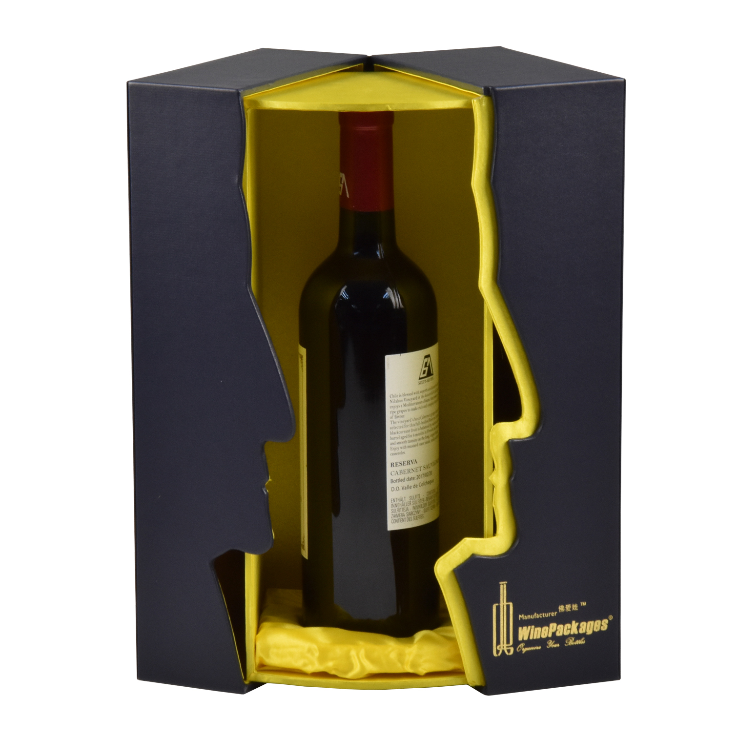 Wine Box Manufacturer PU leather luxury bordeaux wine gift box