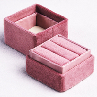 Alibaba Wholesale Custom Blush Pink Engagement Wedding Double Velvet Ring Box