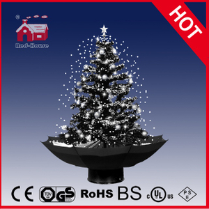 (18030U075-HW) Classic Black and White Christmas Tree Decoration with Snowflakes
