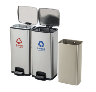 2in1 Rectangle stainless steel Padel trash can with 30LiterX2pcs