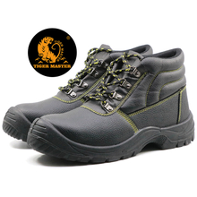 Black steel toe cap mining labor safety shoes for work