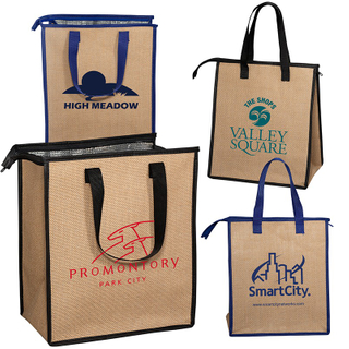Waterproof Insulated Grocery Jute Burlap Shopping Thermal Cooler Tote Bag