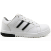 White microfiber leather metal free casual sport safety work shoes