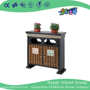 Amusement Park Double Wooden Trash Can With Roof (HHK-15206)