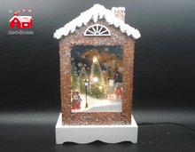 Christmas Decorative House Shape Music Box As Led Home Decoration with Snow Flake Moving And Led Street Light inside