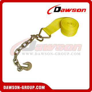 4 inch Winch Strap with Chain and Hook