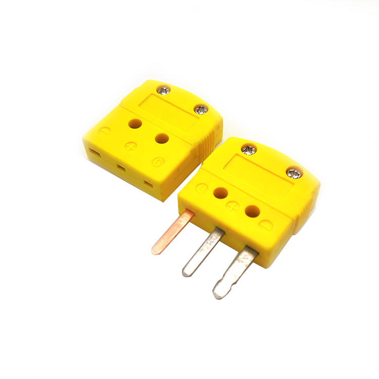 3 Prong Flat Pins Miniature Connector for Thermocouple, RTD and 3-Wire Thermistor