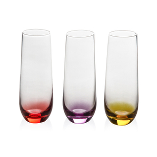 GS0204 Printing Color Champagne Glass 3pcs