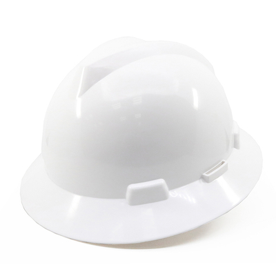 Safety Equipment White HDPE Full Brim V Type Industrial Construction Site Safety Helmet for Workers