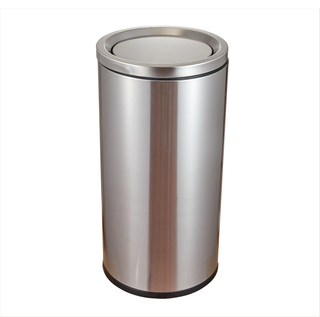 Rounded Stainless Steel Dustbin with Flip lid