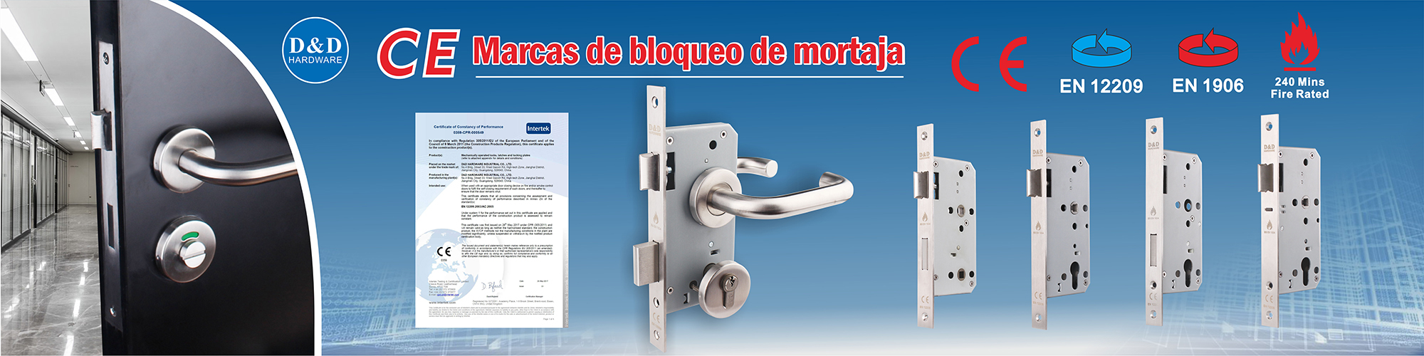 CE mark mortise lock