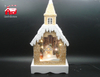 Christmas Decorative House Shape Music Box As Led Home Decoration with Snow Flake And Led Street Light inside