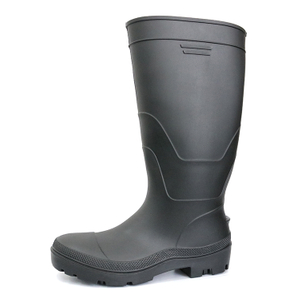 F35BB black waterproof steel toe cap matte pvc safety rain boot