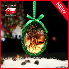 Manufacturer New Style Hanging Oval Shape Christmas Glass Decoration