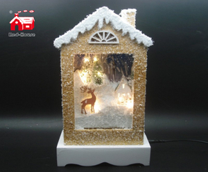 Christmas Decorative House Shape Music Box As Led Home Decoration with Artificial Snow Blowing And Led Street Light inside