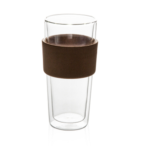 GD0103 Double Wall Heat Insulation Glass Mug with Wooden Sleeve