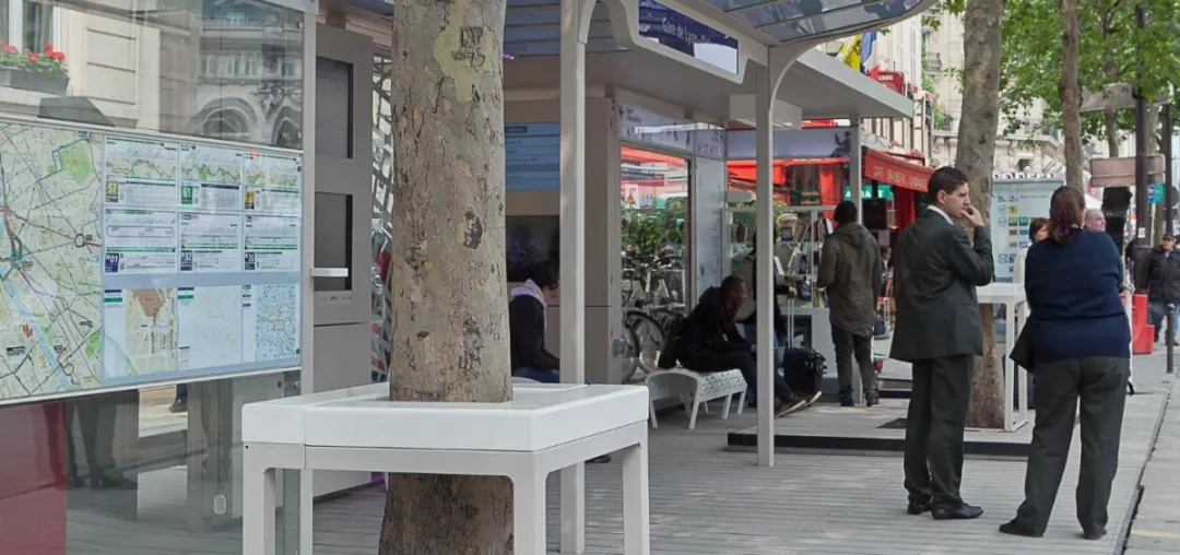open-air reading bus Stop