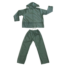 Green Two Pieces Water Proof Rain Wear Polyester PVC Coating Men Rain Suit