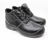 SJ0180 black genuine leather PU rubber sole safety shoes boots steel toe