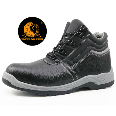 China PVC injection black leather steel toe cap work shoes