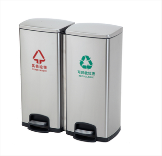 2in1 Rectangle stainless steel Padel dustbin with 30LiterX2pcs