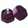 Luxury Handmade Six Sides PU Leather Custom Wooden Ring Box