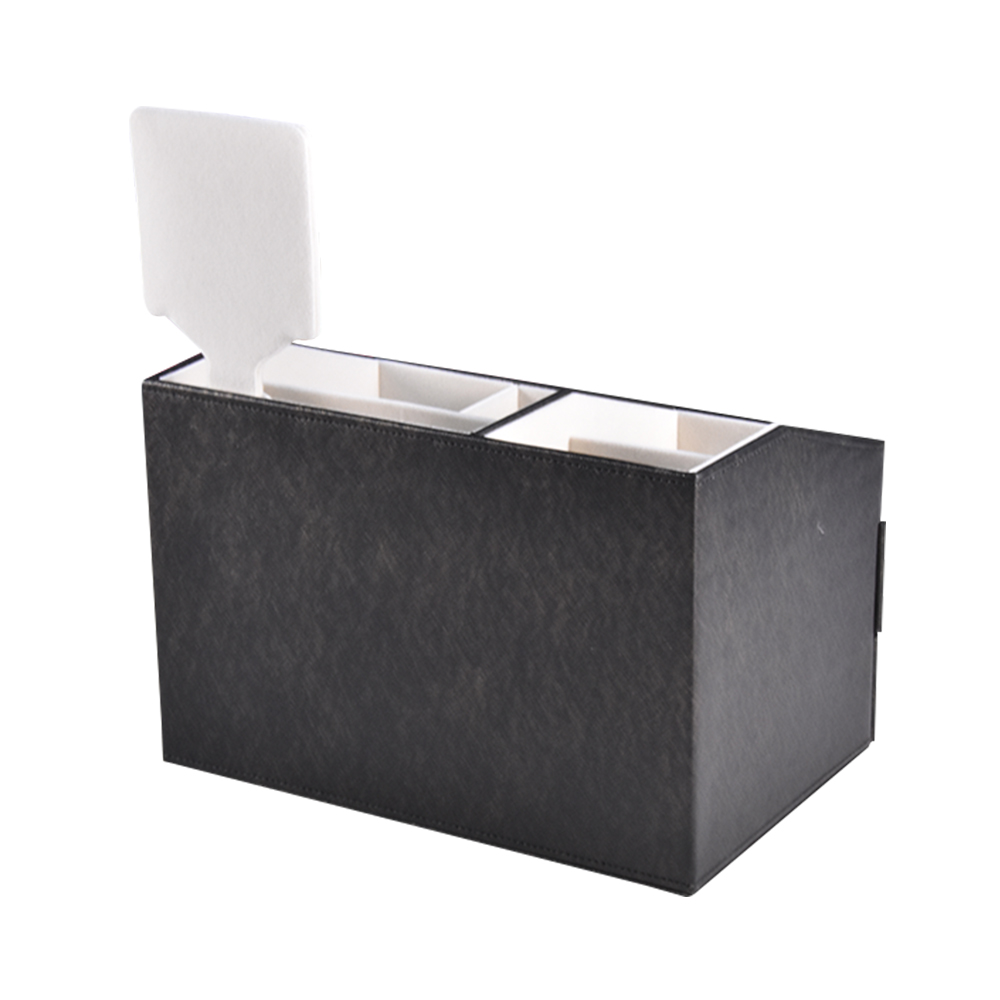 Custom Large Capacity Black PU Leather Women Jewelry Box Cosmetic Packaging Box