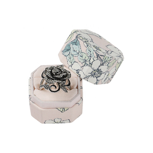 Wholesale Luxury Octagon Cloth Ring Box with Custom Logo for Wedding with 2 Slots for Ring