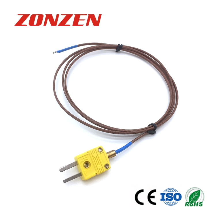 Wire with molded connector thermocouple k type