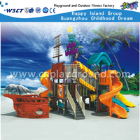 Multi-function Slide Bright Color Children Pirate Ship Galvanized Steel Playground On Stock (HA-05201)