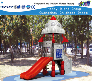 Mini Outdoor Rocket Feature Children Outer Space Galvanized Steel Playground with slide Equipment (HF-14301)