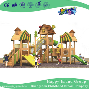 Outdoor Large Wooden Combination Slide Playhouse Playground (1907101)