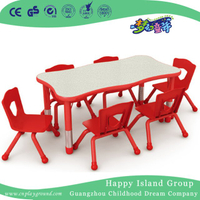 Kindergarten Wooden Wavy Red Edge Toddler Table for Six (HG-5002)
