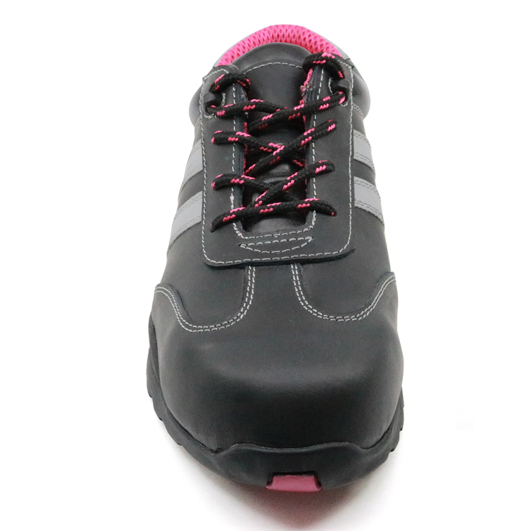 Oil resistant non slip steel toe cap stylish women safety shoes