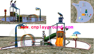 cheap small combination water park playground with mushroom and inverted bucket