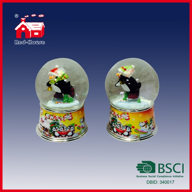 65mm Glass Water Globe Penguins Printed Base Christmas Gift Snow Globe
